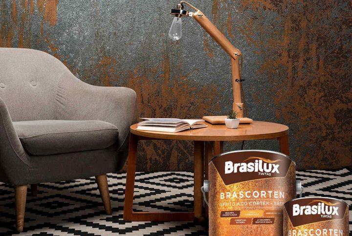 Brascorten, efeito ferrugem da Brasilux, ajuda a criar estilo Rústico Chic no ambiente
